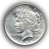 1921 Peace Silver Dollar Uncirculated Condition