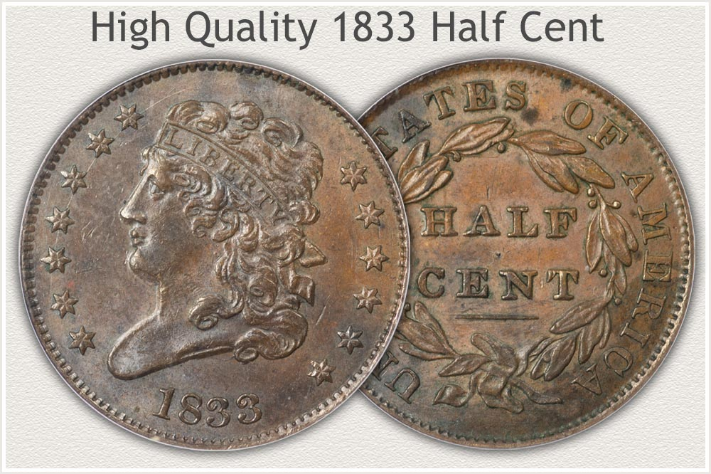 1833 Half Cent High Condition