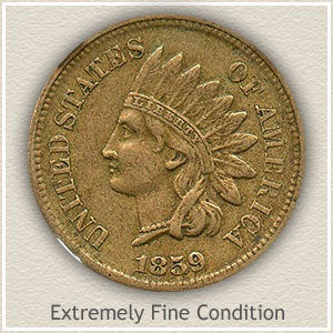 1859 Indian Head Penny Extremely Fine Condition