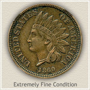 1860 Indian Head Penny Extremely Fine Condition
