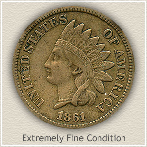 1861 Indian Head Penny Extremely Fine Condition