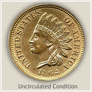 1862 Indian Head Penny Uncirculated Condition