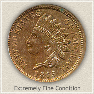 1863 Indian Head Penny Extremely Fine Condition