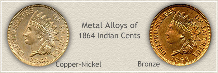 Compare the Copper Nickel 1864 Penny to the Bronze Variety