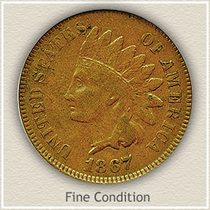 1867 Indian Head Penny Fine Condition