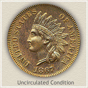 1867 Indian Head Penny Uncirculated Condition