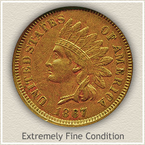 1867 Indian Head Penny Extremely Fine Condition