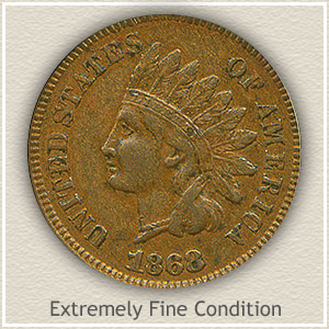 1868 Indian Head Penny Extremely Fine Condition