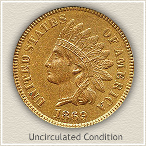 1869 Indian Head Penny Uncirculated Condition