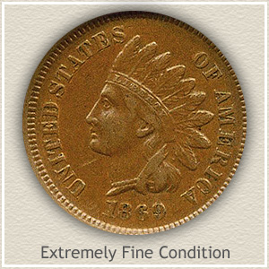 1869 Indian Head Penny Extremely Fine Condition