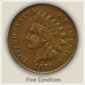 1871 Indian Head Penny Fine Condition