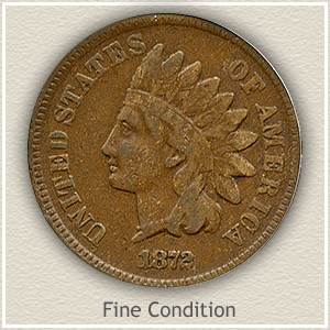 1872 Indian Head Penny Fine Condition