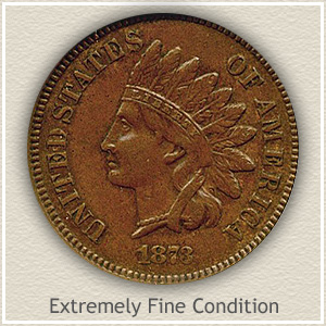 1873 Indian Head Penny Extremely Fine Condition