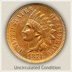 1874 Indian Head Penny Uncirculated Condition
