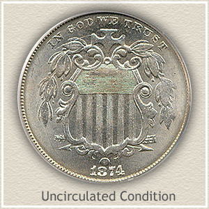 1874 Nickel Uncirculated Condition