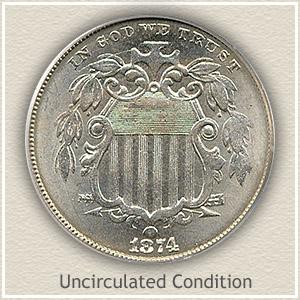 1874 Nickel Uncirculated Condition