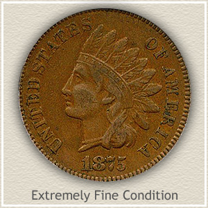 1875 Indian Head Penny Extremely Fine Condition