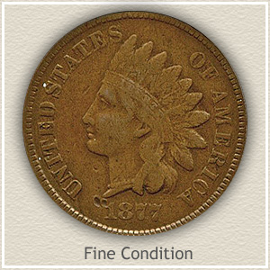 1877 Indian Head Penny Fine Condition