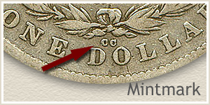 Mintmark Location 1878-CC Morgan Silver Dollar