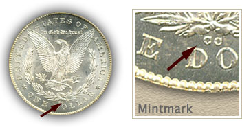 Mintmark Location 1878-CC Morgan Silver Dollar