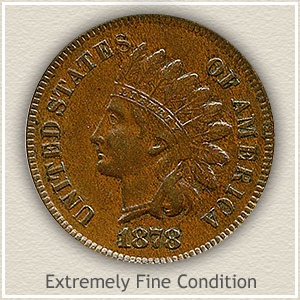 1878 Indian Head Penny Extremely Fine Condition