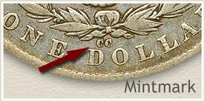 Mintmark Location 1879-CC Morgan Silver Dollar
