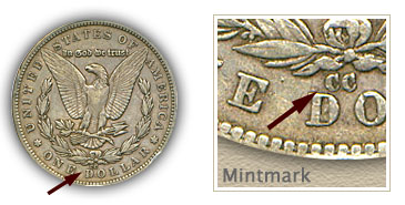 Mintmark Location 1879-CC Morgan Silver Dollar