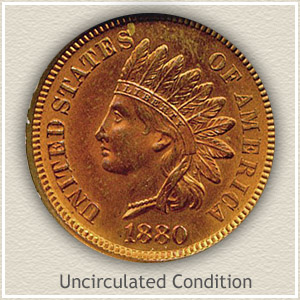 1880 Indian Head Penny Uncirculated Condition