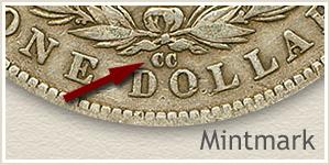 Mintmark Location 1881-CC Morgan Silver Dollar
