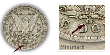 Mintmark Location 1881-CC Morgan Silver Dollar