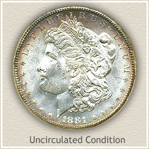 1881 Morgan Silver Dollar Uncirculated Condition