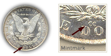 Mintmark Location 1882-CC Morgan Silver Dollar