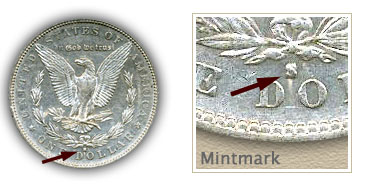 Mintmark Location 1883-S Morgan Silver Dollar