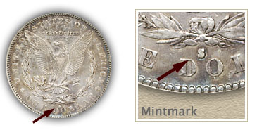 Mintmark Location 1884-S Morgan Silver Dollar