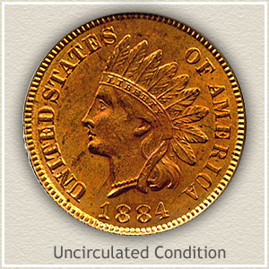 1884 Indian Head Penny Uncirculated Condition