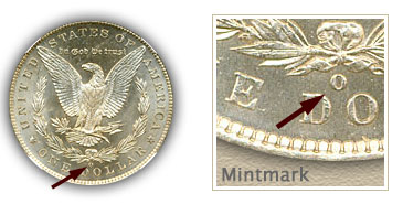 Mintmark Location 1885-O Morgan Silver Dollar