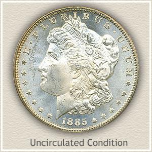 1885 Morgan Silver Dollar Uncirculated Condition