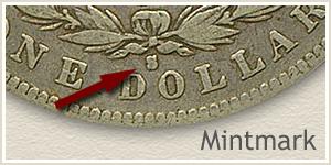 Mintmark Location 1886-S Morgan Silver Dollar