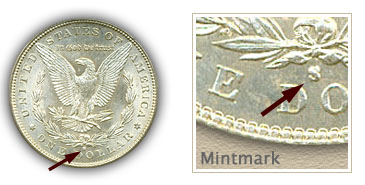 Mintmark Location 1886-S Morgan Silver Dollar