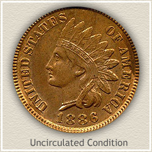 1886 Indian Head Penny Uncirculated Condition