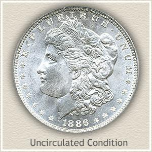 1886 Morgan Silver Dollar Uncirculated Condition
