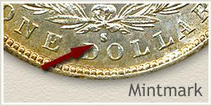 Mintmark Location 1887-S Morgan Silver Dollar