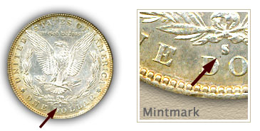Mintmark Location 1887-S Morgan Silver Dollar