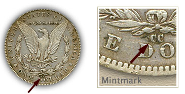 Mintmark Location 1889-CC Morgan Silver Dollar