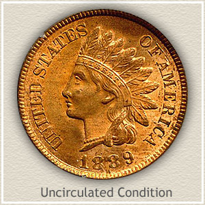 1889 Indian Head Penny Uncirculated Condition