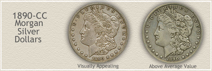 Rare Circulated 1890-CC Morgan Silver Dollars