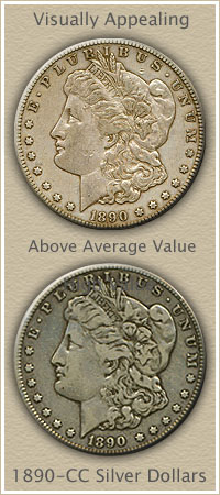 Rare Circulated 1890-CC Morgan Silver Dollars