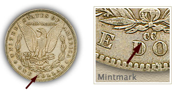 Mintmark Location 1890-CC Morgan Silver Dollar