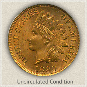1890 Indian Head Penny Uncirculated Condition