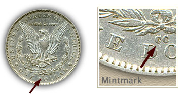 Mintmark Location 1891-CC Morgan Silver Dollar